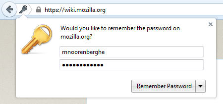 Screenshot of the password capture doorhanger on Windows 7 in Firefox 39
